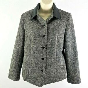 Talbots Sz 6P Gray Wool Silk Blend Jacket